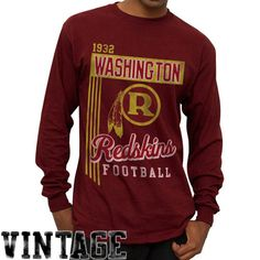 4dabc6712 NFL Washington Redskins Vintage Vertical Lines Long Sleeve T-Shirt -  Burgundy Long Sleeve