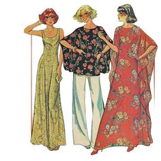 McCalls 5854 1970s Womens Pants Dress Angel Sleeve Top and Caftan Pattern Adult Vintage Sewing Pattern Size 42 44 46 Bust 46 48 50   UNCUT