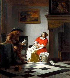 Peter de Hooch  Homme lisant une lettre à une femme  Collection Kremer