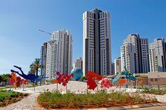 Urban Aquarium, Hadera Israel.  Painted Metal  Sculpture by Uri Dushy