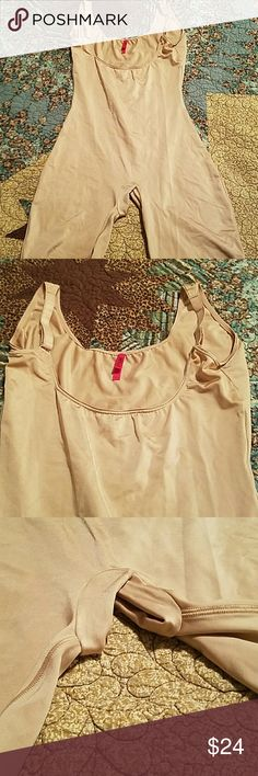 Original Spanx shapewear nude or beige This is a pair of original Spanx that I got and only wore a couple of times. It is slimming and smoothing under dresses and actually helps to lift your boobs in your brain. I'm cleaning out my closet so my loss is your gain!  Size Large, beige/nude color. SPANX Intimates & Sleepwear Shapewear