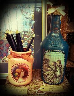 Recycled Jars and Bottles - handcrafted by Ginger Rosie Crafts