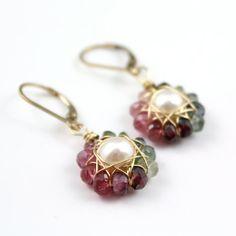 Turmalina y pendientes de perlas flor oro por SDJewelry en Etsy