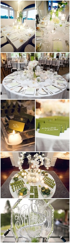 Simple Wedding Concept --- Green or Blue Place Cards & Program Cards on White/Ivory Linen to give it accent and contrast