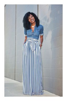 Fitted Denim Shirt Striped Maxi Skirt (Style Pantry) - Denim And White - Ideas of Denim And White - Well I cant go too long without a denim shirt. I just cant Outfit Details: Shirt (old H&M find): Similar here here or here Maxi Skirt Style, Maxi Skirt Outfits, Striped Maxi Skirts, Maxi Pants Outfit, Striped Pants, Maxi Skirt Outfit Summer, Denim Outfit, Striped Dress, Long Maxi Skirts