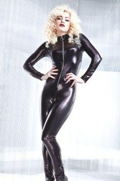 """Black """"Rubber Look"""" Cat Suit!"""