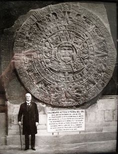 Mexican President Porfirio Díaz standing next to the Aztec Sun Stone. A large stone monolith excavated in the Zócalo of Mexico City in December it is approximately 12 feet across and weighs approximately 24 tons. Ancient Mysteries, Ancient Ruins, Ancient Artifacts, Ancient History, World History, Art History, Mexico City Cathedral, Aztec Calendar, Inka