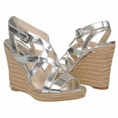 SALE - Michael Kors Palm Beach Espadrille Wedge Heels Womens Silver Leather - Was $99.00 - SAVE $5.00. BUY Now - ONLY $94.05.