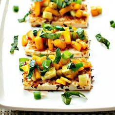 Coconut crusted Tofu with Spicy Mango Cucumber topping is the perfect blend of tropical flavors that takes just minutes!