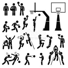 A set of stickman pictogram representing a basketball players skills, actions, and postures. This include layup, slam dunk, rebound, blocking, shooting, passing, and intentionally pushing other...