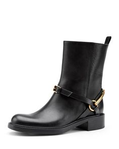 I WANT, WANT, WANT!!!       Motorcycle Horsebit Boot, Nero by Gucci at Neiman Marcus.