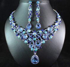 19 // MOON LIGHT BLUE AUSTRIAN RHINESTONE NECKLACE EARRINGS SET BRIDAL WEDDING N1666B