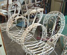 Garden Furniture Vintage vintage/shabby chic white cast iron garden furniture set - table