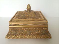 Gold Trinket Box, Large Gold Box, Wooden Box, Gold Jewelry Box, Black Velvet lined, Intricate Design,  Vintage Ethan Allen, Home Decor Box