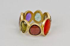 9 steensring#Confetti ring #aliance 18karaat goud #granaat #carneool # amethyst #multi color stone ring