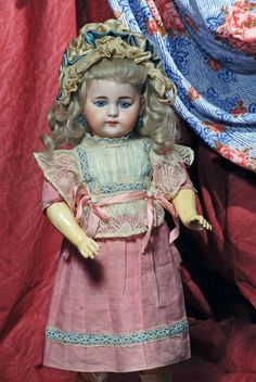 """Factory-original dress worn by 16"""" German bisque child marked S 8 H 719 Dep., by Simon and Halbig."""