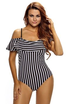 49e74116725d0 Womens Sexy Cute Printed Off Shoulder One Piece Swimsuit Swimwear - A-black  White - C517Y0SUW2N