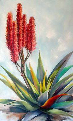 'I'm colourful' Oil on canvas x by Ellie Eburne 3 Canvas Paintings, List Of Paintings, Flower Paintings, Watercolor Paintings, Cactus Art, Diy Cardboard, Agaves, Painting Gallery, Still Life Art