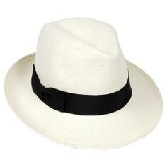 Hat Atack Classic Fedora- White with Black Grosgrain Ribbon Trim