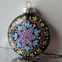 Hand painted glass ornament by ishydesigns50 on Etsy, $15.00