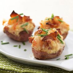 Shrimp-and-Bacon-Stuffed Baby Potatoes    (Going to try to concoct a vegetarian &/or vegan version of this!)