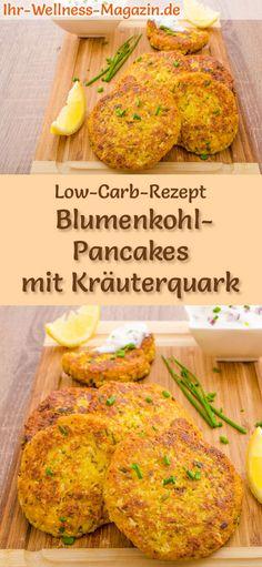 Low-Carb-Rezept für Blumenkohl-Pancakes mit Kräuterquark: Kohlenhydratarme, herzhafte Pfannkuchen - gesund, kalorienreduziert, ohne Getreidemehl #lowcarb #pancakes #pfannkuchen