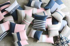 Pastel Pink & Navy Pillows by #JillianReneDecor