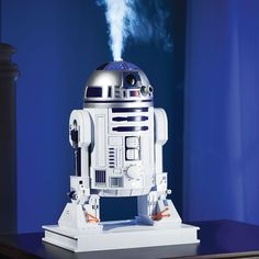 This tabletop R2-D2 remedies room dryness with a humidifier built into his domed head and he is only available from Hammacher Schlemmer. #StarWars #R2D2