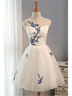 A Line White Embroidery  Homecoming Dresses  Party  Dresses Short Prom Dresses Cocktail Dresses Graduation Dresses  (ED1979) Prom Dresses Blue, Cheap Prom Dresses, Homecoming Dresses, Short Dresses, Formal Dresses, Gown Dress, Short Prom, Chinese Style, Custom Made