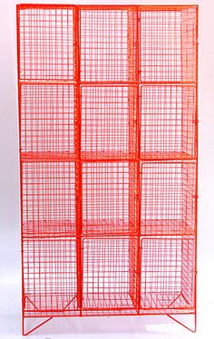 Mesh locker re-sprayed in bright orange (L – D – H – Tall metal cabinet re-sprayed in bright turquoise L –. Love To Shop, Just Giving, New Furniture, Dining Room Table, Industrial Style, Lockers, Small Spaces, Solid Wood, Vintage Items