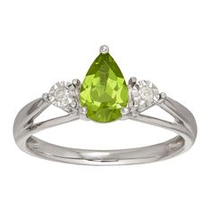 1 ct Natural Peridot Ring with Diamonds in 10K Gold from Jewelry.com: A perfect gift for any August birthday girl. A single 1 ct pear-cut…