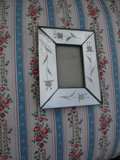 Vtg Art Deco Floral Designs Small Venetian Glass Look Easel Back Mirror Photo Picture Frame by treasuretrovemarket on Etsy