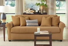 Sure Fit Slipcovers: Stretch Modern Chevron Separate Seat Slipcovers - Loveseat in Camel Color