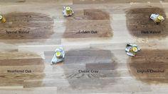 Minwax floor stain test on Red Oak floors in natural light: Special Walnut, Golden Oak, Dark Walnut, Weathered Oak, Classic Gray and English Chestnut