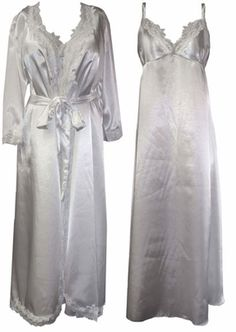 This beautiful satin nightgown and robe set is truly one of a kind! V-neck with lace trim and double spaghetti straps. The elastic stretches across the back and makes for an ultra comfortable, flattering fit around the chest. Variety of sizes and colors, please visit store for more info.