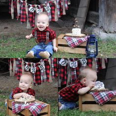 This is cute, I like the one where you rough stain a palate for the background and hang the one banner on that. Like the rustic smash cake.Grandmama can make that and I bet Daddy can take some awesome photos. First Birthday Pictures, Baby Boy First Birthday, First Birthday Parties, Birthday Ideas, Lumberjack Birthday Party, Lumber Jack, Party Themes, Party Ideas, 1st Birthdays