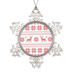 #Christmas Reindeer Knit Red White Ugly Sweater Snowflake Pewter Christmas Ornament - #Xmas #ChristmasEve Christmas Eve #Christmas #merry #xmas #family #kids #gifts #holidays #Santa