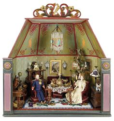 Bread and Roses - Auction - July 26, 2016: Lot #105 Outstanding Viennese Furnished Dollhouse Room of the Art Nouveau Era Cardboard Dollhouse, Dollhouse Dolls, Dollhouse Miniatures, Barbie Furniture, Dollhouse Furniture, Furniture Vintage, Bread And Roses, Vintage Headbands, Baby Headbands