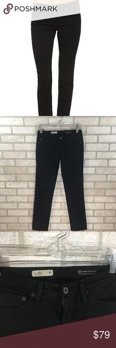"""AG Black The Stilt Cigarette Jeans Size 26 Ag Adriano Goldschmield Black The Stilt Cigarette Jeans  Size 26 Five pockets  Belt loops  Zipper w/button closure  Made in USA  98% cotton/2% spandex  Approx Measurements: 14"""" waist when flat  7"""" rise  28"""" inseam  6"""" leg opening   0405 Ag Adriano Goldschmied Jeans Skinny"""