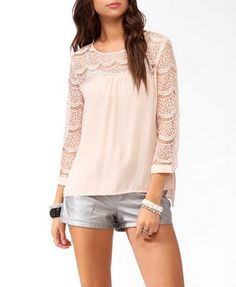 High-Low Lace Trimmed Top | FOREVER21 - 2019571547