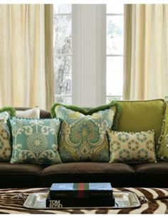 22 Tailored Square Pillows in 13714 Pinwheel/ Robins Egg and 14023 Poetic Paisley/ Aqua