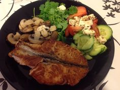 Grilled salmon and salad Grilled Salmon, Grilling, Salad, Meat, Chicken, Kitchen, Food, Cooking, Salmon On Grill