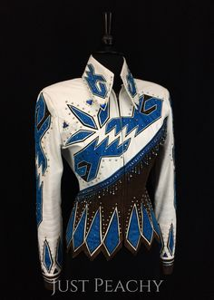 White, Chocolate and Blue Leather Jacket by Show Grace ~ Ladies Small
