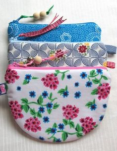DIY Little Half-Circle Zippered Fabric Coin Purse/Pouch with Ribbon + Bead Zipper Pull