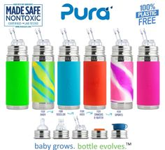 Pura Kiki Stainless 9oz Insulated Straw cup. The only 100% plastic-free and NonToxic Certified infant line on the market. Baby Grows... Bottle Evolves technology allows EVERY bottle to work with EVERY lid.