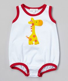 White & Blue Giraffe Bodysuit - Infant by Victoria Kids #zulily #zulilyfinds
