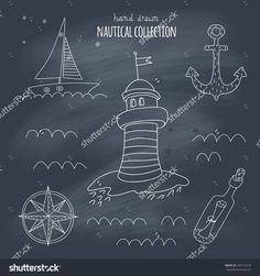 Nautical Hand Drawn Set On A Blackboard. Eps 10. No Gradients. Transparency. Stok Vektör İllüstrasyonu 189172310 : Shutterstock