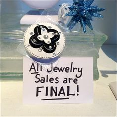"""For Xmas You Bought It, You Own It! A clearly stated return policy here: """"All Jewelry Sales Final. But what clientele or retail neighborhood might encourage this Draconian policy Manners, Encouragement, Perfume Bottles, Xmas, Retail, Jewelry, Jewlery, Jewerly, Christmas"""