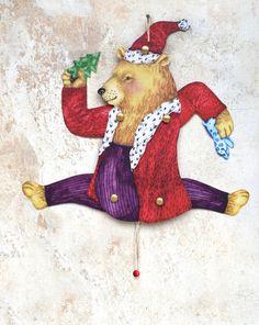 Basteln - Bastelbogen Weihnachtsbär Hampelmann DINA5 - ein Designerstück von ADAMS-BRAUT bei DaWanda