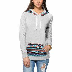 Mix up your basic hoodie look and add the Long Beach Tribal Print pullover hoodie from Empyre Girl to your wardrobe. Built with a slim, longer fit in a Heather Grey colorway, this tunic style hooded sweatshirt from Empyre has a colorful native print at th